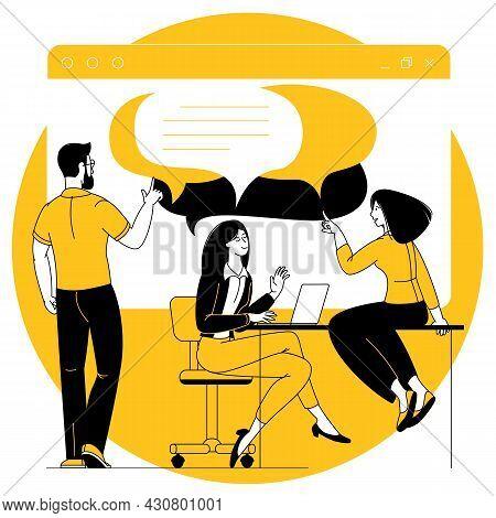 Social Media Marketing Vector Concept, Smm Digital Web Technology Illustration. Flat Design Cartoon