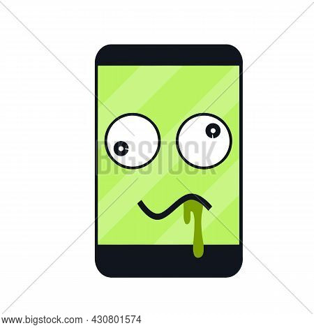 Sick Phone. Virus And Bug. Problem With Device. Repair And Service. Funny Character. Cartoon Illustr