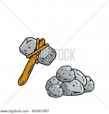 Stone Hammer On Stick. Subject Of Caveman. Prehistoric Hunting Weapon. Big Hammer. Pile Of Cobblesto