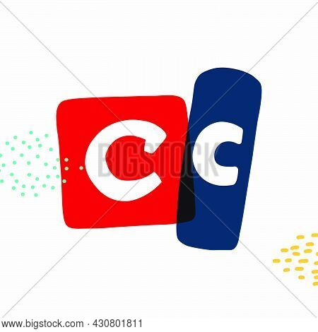 C Letter Typewriter-inspired Logo With Bold Slab Serif Letters In Colorful Frames. Hand-drawn Style
