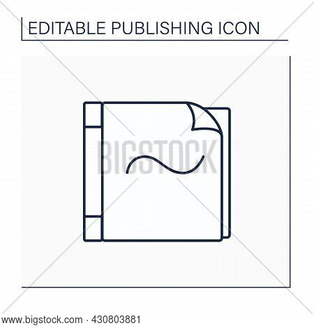 Paperback Line Icon. Book Bound In Stiff Paper Or Flexible Card.publishing Concept. Isolated Vector