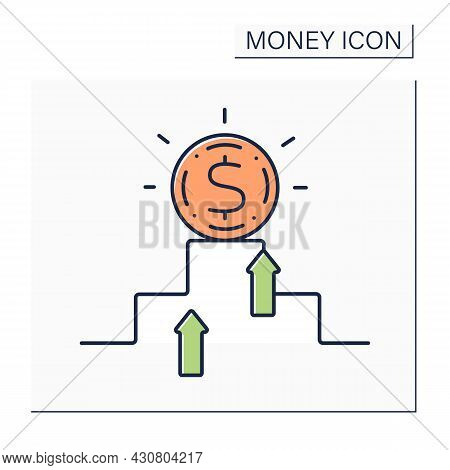 Hard Currency Color Icon. Safe-haven Or Strong Valuta. Globally Traded Currency That Serves As A Rel