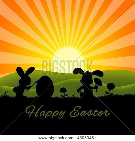 Cute Easter Rabbits Silhouette