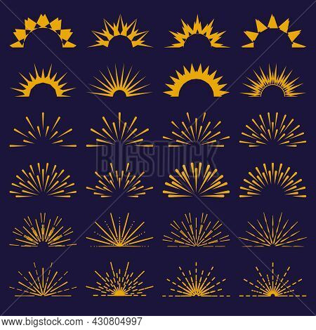Half Circle Sunburst Rays Collection. Abstract Contour Pattern Bursts, Starbursts, Sunrise. Vector S