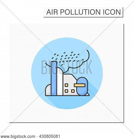 Dust Color Icon. Harmful Particle Emissions From Factory Pipe. Smog, Biohazard Emissions. Greenhouse