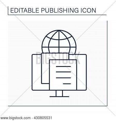 E-publishing Line Icon. Electronic Publishing. Publication Of E-books, Magazines, And Development Of