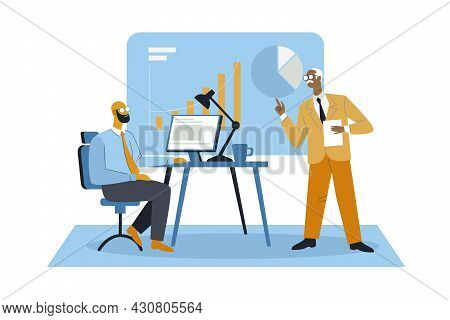 Boss Briefing About Work Illustration Concept Vectors