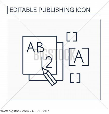 Front Line Icon. Front Section Of Books, Magazines. Title Page. Publishing Concept. Isolated Vector
