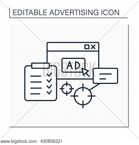 Plan Line Icon.goals And Strategies In Advertising Campaigns. Share Ads On Website. Advertising Conc