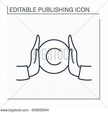 Copyright Line Icon. Copyright Law. Intellectual Property. Author Rights On Products. Authorship. Pu