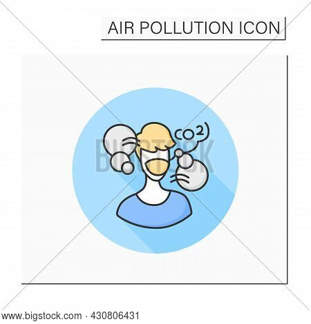 Air Pollution Color Icon. Man In Face Respirator. Industrial Smog, Biohazard Emissions. Greenhouse E
