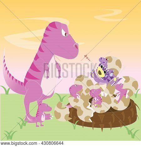 Dinosaur Pink Mom Meet With Her Children And Mr.purple Bear In Dinosaur Costume,tyrannosaurus With C