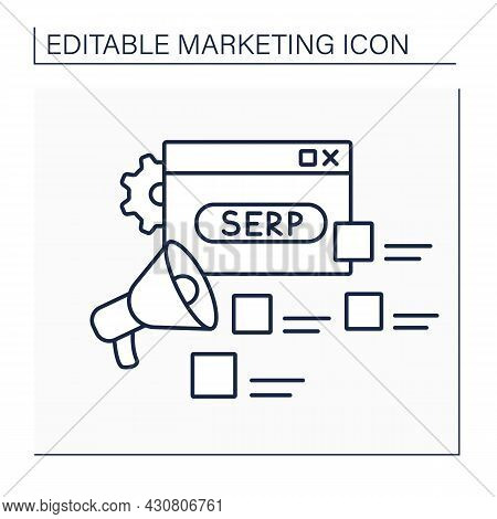 Serp Line Icon. Search Engine Results Page. Results List.website Rating.marketing Concept. Isolated
