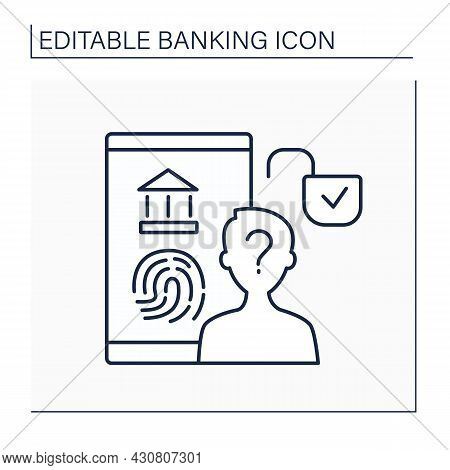 Authorization Line Icon. Official Permission. Identification For Entering Bank Account.banking Conce