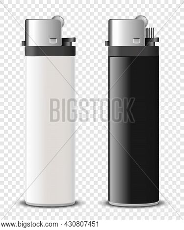 Vector 3d Realistic Blank White And Black Cigarette Lighter Set Closeup Isolated. Design Template Fo
