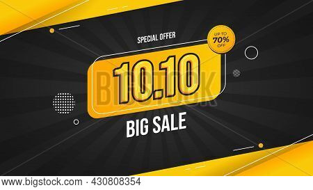 10.10 Big Sale Banner With Black And Yellow Background Special Offer Up To 70% Off