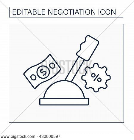 Leverage Line Icon. Power Of One Side Of Negotiation. Influence For Accept Proposals. Negotiation Co