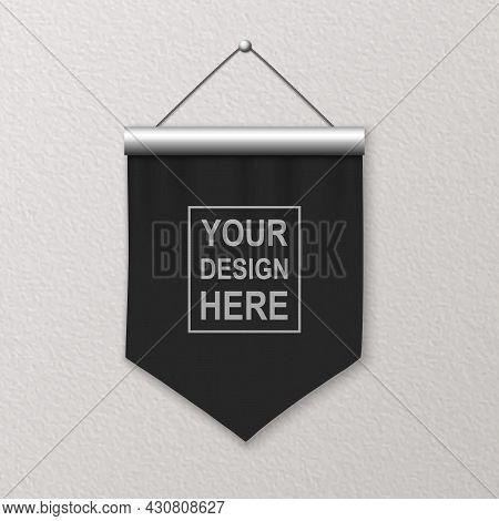 Vector 3d Realistic Blank Black Pennant Wall Hanging, Design Template, Mockup. Linen Pennant Closeup