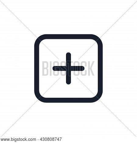Kyiv, Ukraine - August 1, 2021: Add New Content Black Line Icon. Popular Instagram Media Element. Pl