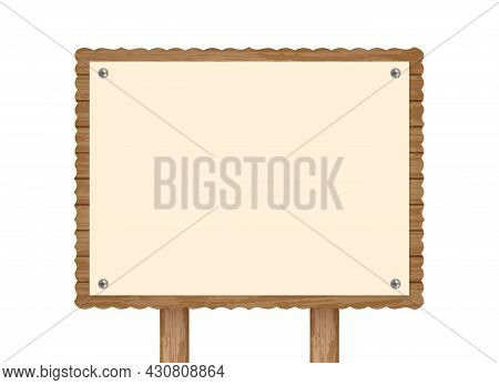 Realistic Wooden Signboard With Fastened Card. Mockup For Design Logo Text Advertisement. Decorative