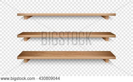 Set Of 3d Empty Wooden Shelves. Realistic Bookshelves With Wood Texture For Online Store Advertising