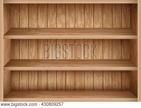 Realistic Bookshelf Mockup Template. Vintage Wooden Shelves For Library And School Interior Design.