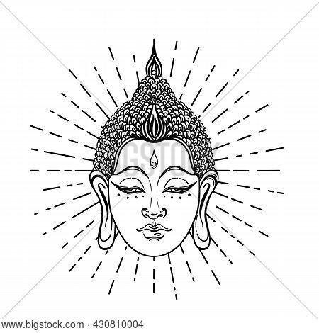 Buddha Face Over Sacred Geometry Pattern. Esoteric Vintage Vector Illustration. Indian, Buddhism, Sp