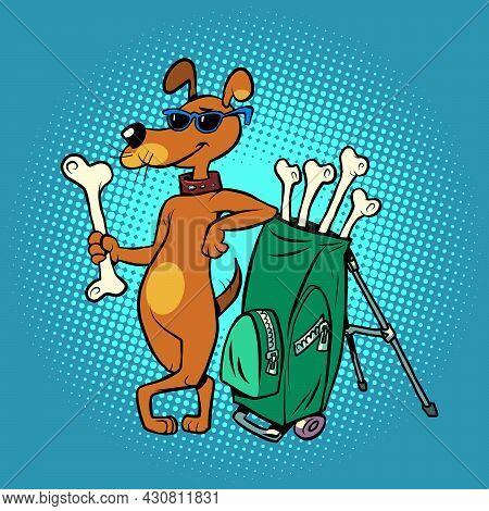 Pets Friendly Golf Club, Cute Dog Character With Bone Clubs