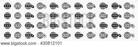 Flat Linear Design. Web Site Or Internet Icons Set. Go To The Web Link. Internet Symbol - Www. Vecto