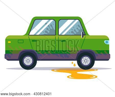 Leaking Car Oil From A Vehicle. Minor Repairs In The Sedan. Flat Vector Illustration