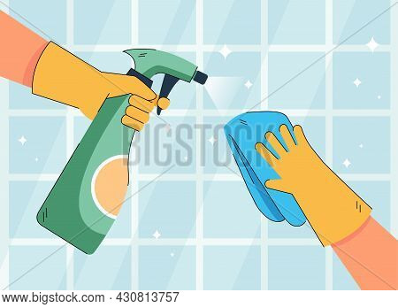Hands Of Character In Gloves Cleaning Kitchen Or Bathroom Tiles. Person Spraying And Wiping Surface