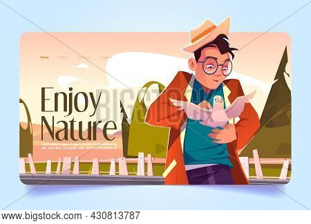 Enjoy Nature Banner With Man Caress White Dove. Vector Landing Page With Cartoon Illustration Of Cha