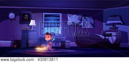 Little Boy Practice Magic With Wand And Glowing Spell Book, Magician Child Conjure In Bedroom Night