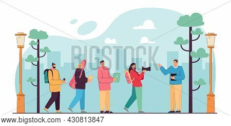 Tourist Cartoon Characters Looking At Tour Guide On Trip. Group Of Happy Men And Women Sightseeing,