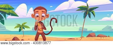 Cute Monkey With Banana On Sea Beach With Palm Trees. Vector Cartoon Illustration Of Summer Landscap