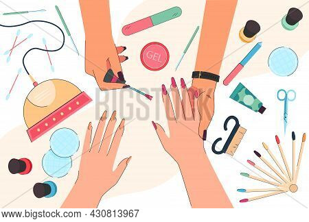 Hands Of Nail Technician And Customer In Manicure Salon. Top View Of Table With Tools For Nail Care