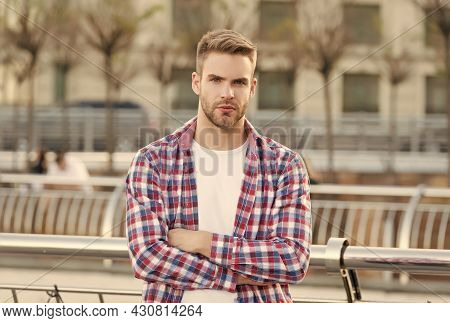His Perfect Style. Modern Life Concept. Student Walk In City. Handsome Young Man Wear Checkered Shir