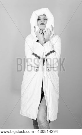 Girl Wear White Jacket. Jacket Has Extra Insulation And Slightly Longer Fit In Order To Protect Your