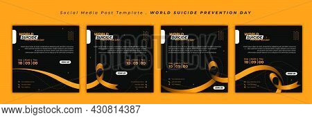 World Suicide Prevention Day With Ribbon Design. Set Of Social Media Template With Black And Yellow
