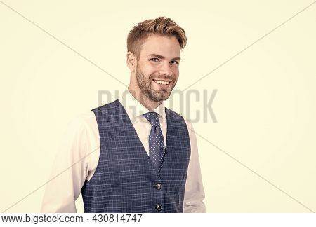 Happy Handsome Unshaven Manager Smile With Healthy Teeth In Formal Style, Dentistry