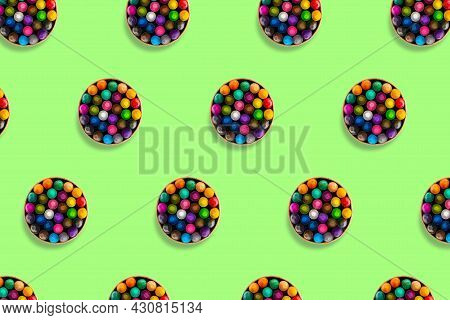 Colored Crayons Pattern Composition On Pastel Green Background. Waxy Pencils Eco Cardboard Box Top V