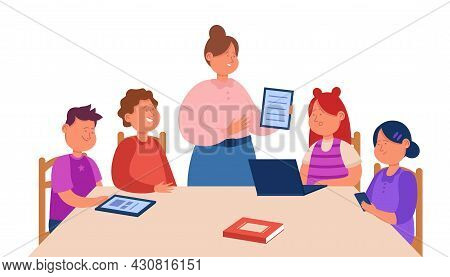 Cartoon Teacher Explaining Task To Children Sitting At Table. Flat Vector Illustration. Students Lea