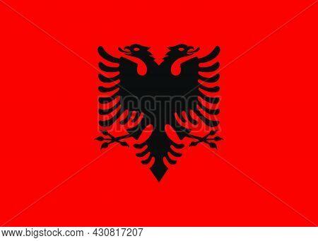 Flag Albania Vector Illustration Symbol National Country Icon. Freedom Nation Flag Albania Independe