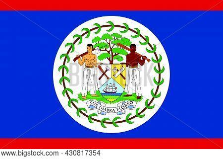 Flag Belize Vector Illustration Symbol National Country Icon. Freedom Nation Flag Belize Independenc