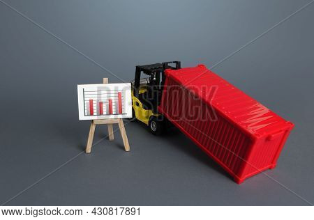Forklift With Sea Container And Schedule Poster. Data Analysis And Statistics Of Freight Traffic. Tr