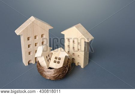 Big Houses And Small In Nest. Parenting Concept. Investing In Real Estate And Construction Industry.