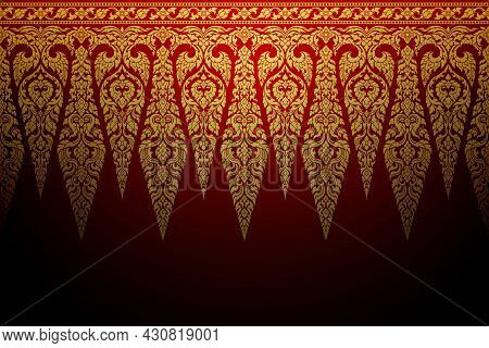 Thai Art Template Background Pattern Golden Color On Red Background. Retro Antique Style. Decorative