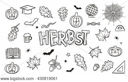 Translation From German: Autumn. Doodle Elements For Seasonal Calendar. Hand-drawn Objects Isolated
