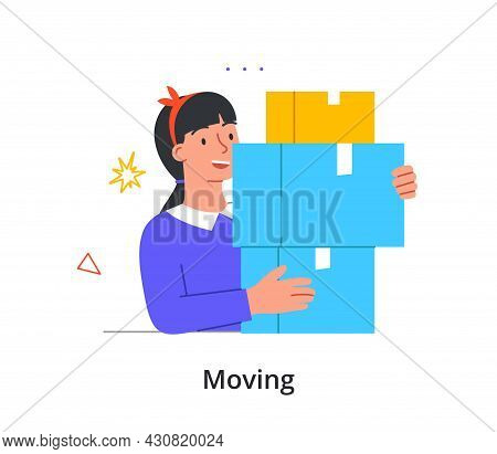 Smiling Female Character Is Leaving Her Home For New Place On White Background. Concept Of People Le