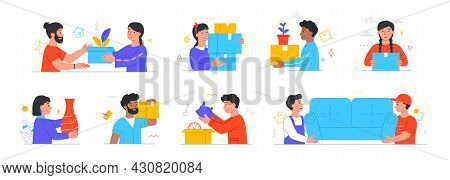 Set Of Male And Female Characters Moving Or Leaving Their Homes And Offices On White Background. Peo